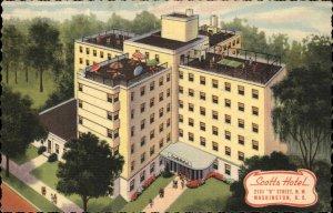 WASHINGTON DC Scotts Hotel ART DECO ROOFTOP TENNIS Old LINEN Postcard