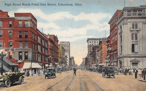 Columbus OH Dwyer's Furs~Bookstore~Beaux Arts Bldg~Mostly Autos~Traffic Cop 1914