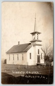 McCallsburg Iowa~Liberty Church~Fence Posts~Barn~History on Back~1908 RPPC