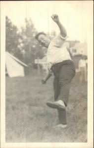 Smiling Happy Man in Silly Pose c1915 Real Photo Postcard