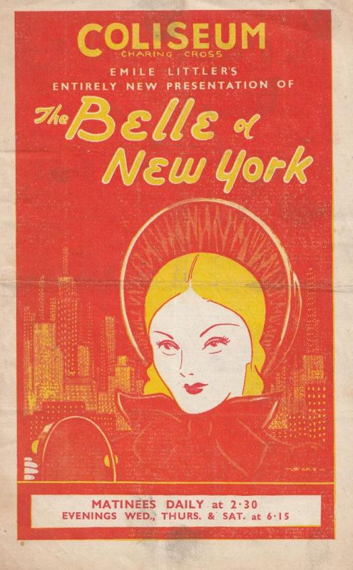 The Belle Of New York 1942 WW2 War London Musical Theatre 2x Programme s