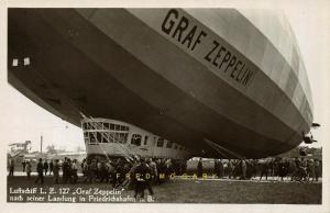 1930 Friedrichshafen a.B. Germany RPPC Turning a Zeppelin, Specialist Edenharter