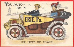 You Auto Be in Erie Pennsylvania~The Town of Towns~Couple & Dog in Car~Pennant