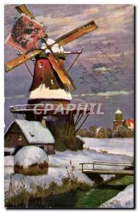 Mill in snow - windmill in winter - winter - Old Postcard