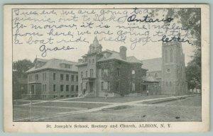 Albion New York~St Joseph's School Rectory & Church~Teachers in Front~1906 B&W