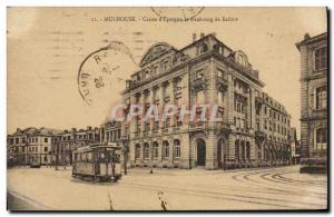 Old Postcard Mulhouse Bank Caisse d & # 39Epargne and Faubourg Belfort Tramway