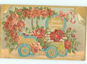 Pre-Linen ANTIQUE CAR DECORATED WITH ROSES & FORGET-ME-NOT FLOWERS AC4087