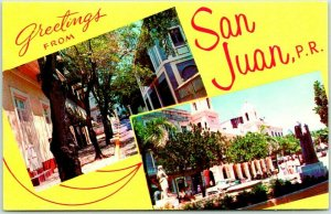 1960s Greetings form San Juan PUERTO RICO Postcard Multi-View Chrome Unused