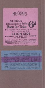 Clifton Suspension Bridge Toll 1950s 2x Ticket s