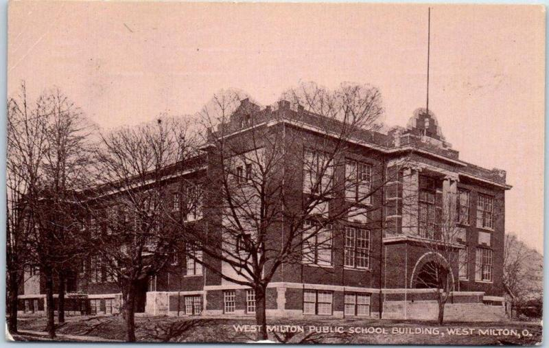 West Milton, Ohio Postcard PUBLIC SCHOOL BUILDING Street View c1910s