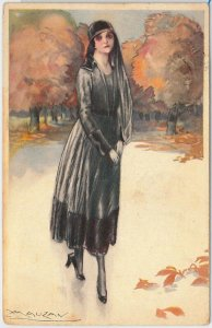 56212 - VINTAGE POSTCARD - Glamour Ladies Donnine - ARTIST SIGNED: MAUZAN #2