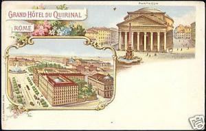 italy, ROME, Grand Hotel du Quirinal (ca. 1899) LITHO