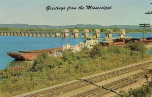 Postcard Greeting From The Mississippi River Lock And Dam