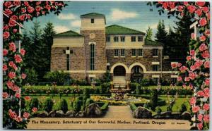 Portland, Oregon Postcard Monastery, Sanctuary of Our Sorrowful Mother Linen
