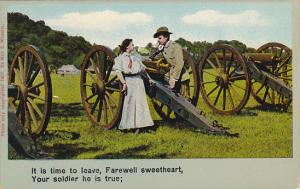 Soldier Talking To Sweetheart Among Large Canons