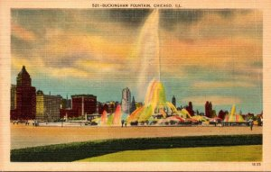 Illinois Chicago Grant Park Clarence Buckingham Memorial Fountain By Illumina...