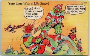 1940s RAY WALTERS Postcard Your Line Was a Life Saver CURTEICH LINEN C-660