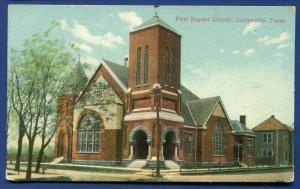 Gainesville Texas First Baptist Church old postcard