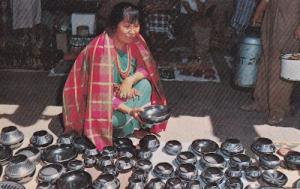 New Mexico Black Pottery Crafts Market Trader 1970s Postcard