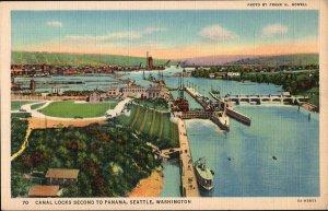 Washington ~ SEATTLE Canal Locks Second to Panama Eight Miles Long - LINEN