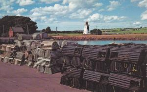 Lobster Traps on Wharf, Lighthouse, Victoria Harbour, Prince Edward Island, C...