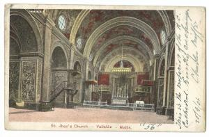 St Johns Church, Valetta Malta PPC, 1906 Local PMK, Roman Catholic Cathedral