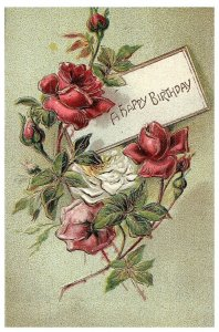 A Happy Birthday Vintage Embossed Floral Postcard Early 1900s