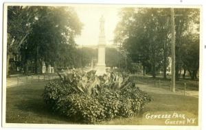 RPPC, Genesee Park, Statue, Greene NY