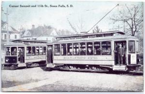 Trolley Cars - Corner of Summit and 11th St in Sioux Falls, South Dakota 1909