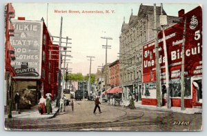 Amsterdam NY~Market Street~Glatt's Good Clothes~Grocery~Uneeda Biscuit~c1912
