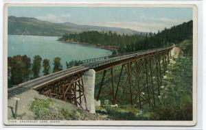 Railroad Trestle Bridge Chatcolet Lake Idaho 1910c Phostint postcard
