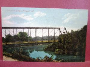 Postcard IL Freeport Cedarville Bridge 1909