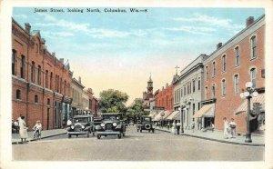 COLUMBUS, WI Wisconsin JAMES STREET SCENE~North  CARS~BICYCLE  c1920's Postcard