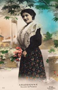 Arlesienne Antique Old Fashion Postcard Dress Headwear Bow Hat Antique Postcard