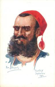 Artist EMILLE DUPUIS Officer Soldier Caricature Infantry Bertrix 1914 Military