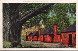 Savannah GA Georgia Old Slave Huts at the Hermitage Unused Linen Postcard D60