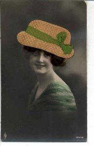 Beautiful Woman NOVELTY ADD ON HAT & HAIR c1910 Real Photo Postcard #2