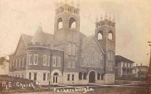 Parkersburg Iowa~Methodist Episcopal ME Church~Two Big Houses~c1912 RPPC