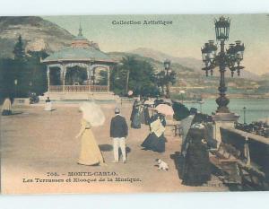Unused Old Postcard BANDSTAND BY SHORELINE Monte Carlo Monaco F5375