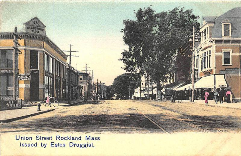 Rockland MA Union Street Storefronts Trolley Tracks Postcard