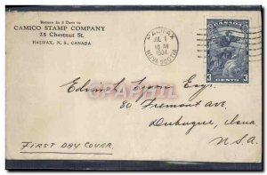 Letter Halifax Canada to USA FDC Cartier July 1, 1934