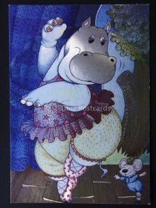 HIPPO BALLERINA c1980's by F J Warren DUFEX FOIL Postcard 501848