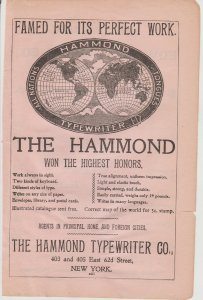 Hammond Typewriter 1899 Print Ad, 403 & 405 East 62d Street, New York