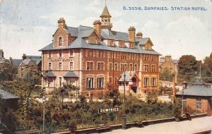 Dumfries Station Hotel, Dumfries, Scotland, Early Postcard, used in 1924