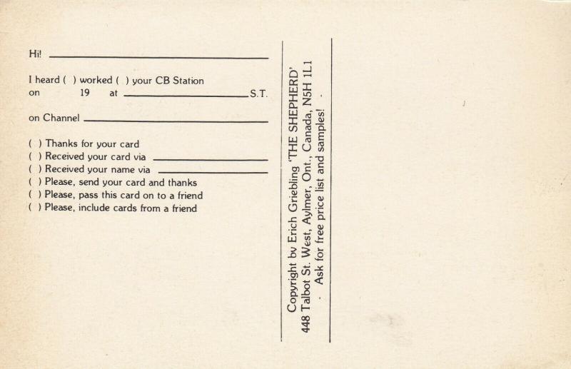 LANGTON , Ontario , 50-60s ; Queen B , QSL Radio Postcard