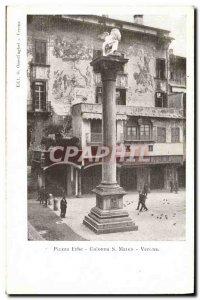 Postcard Old Verona Piazza Erbe S Marco Colonna