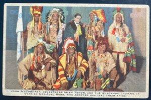 Mint Usa Picture Postcard Native American Blackfeet Indians With John McCormack