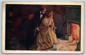 Postcard A/S James Alfred Dewey Love Light Romantic Man Woman Fireplace M03