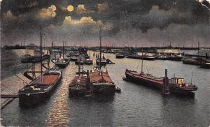 Germany Duisburg Ruhrort Abend am Hafen Harbour Boats Moonlight