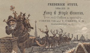 WASHINGTON, D.C., 1890s ; TC; Staple & Fancy Groceries, Santa Claus on rooftop
